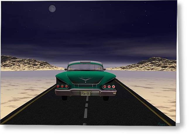 Greeting Card featuring the digital art The 58 On 66 by John Pangia