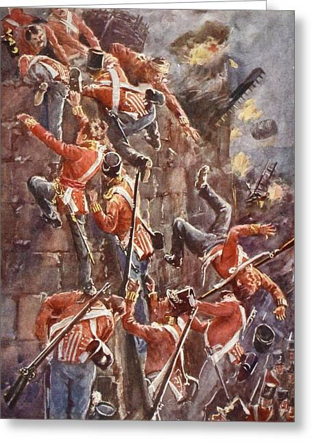 The 5th Division Storming By Escalade Greeting Card by William Barnes Wollen