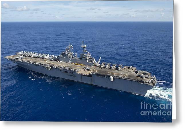 The Amphibious Assault Ship Uss Boxer Greeting Card by Stocktrek Images