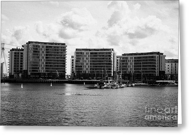 the arc apartments and Belfast harbour marina queens island titanic quarter Northern Ireland UK Greeting Card by Joe Fox