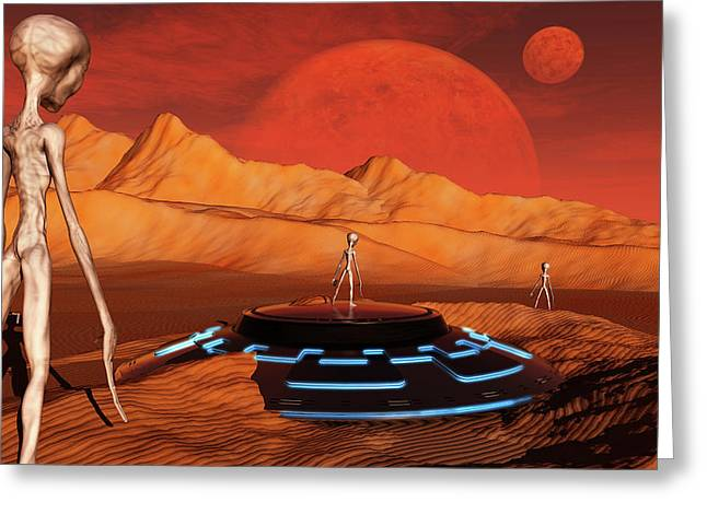 The Arrival Of Planet Nibiru As Seen Greeting Card by Mark Stevenson