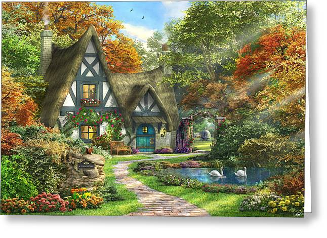 The Autumn Cottage Greeting Card by Dominic Davison