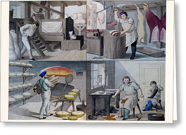 The Bakery, The Butchers, The Shoemaker, 19th Century Greeting Card by English School