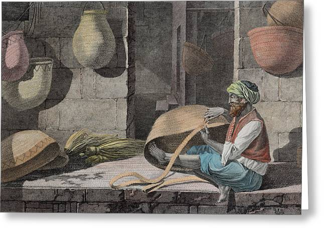 The Basket Maker, From Volume II Arts Greeting Card by Nicolas Jacques Conte