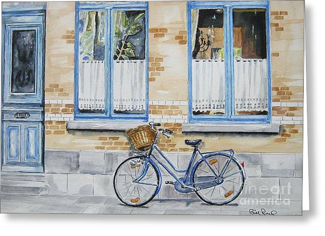 The Blue Bicycle Greeting Card by William Reed