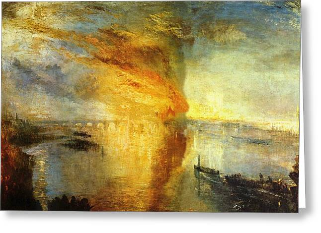 The Burning Of The Houses Of Parliament Greeting Card