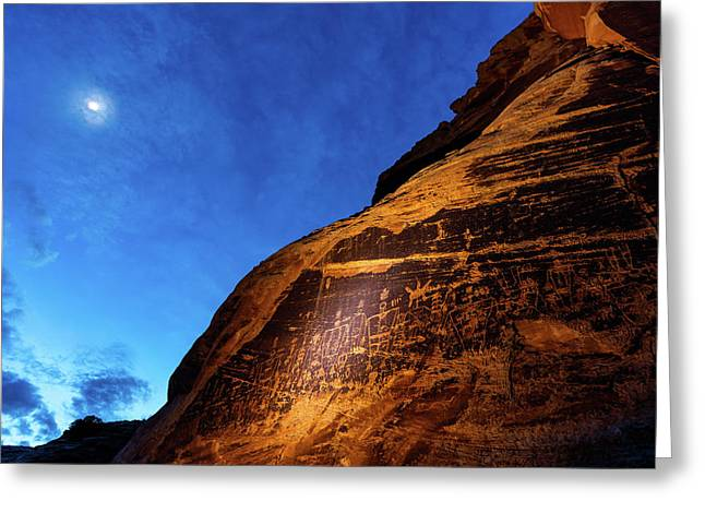 The Butler Wash Petroglyph Panel Greeting Card by Stephen Alvarez