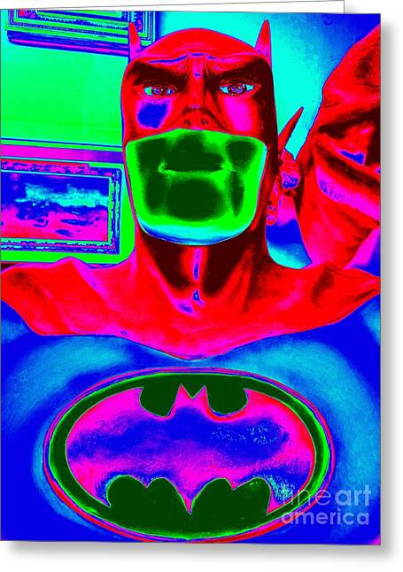 The Caped Crusader Greeting Card by Ed Weidman