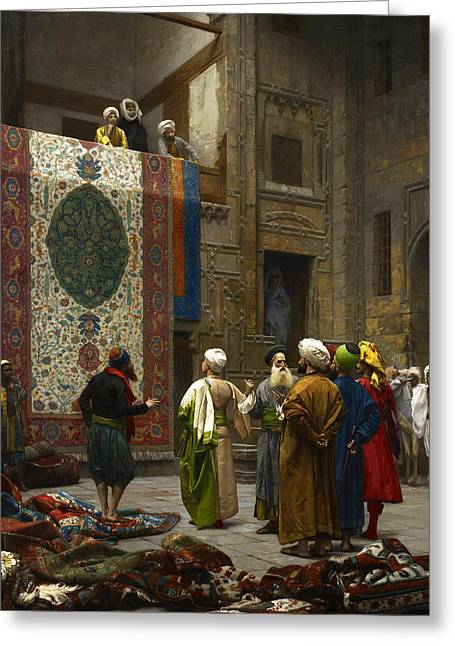 The Carpet Merchant Greeting Card by Jean-Leon Gerome