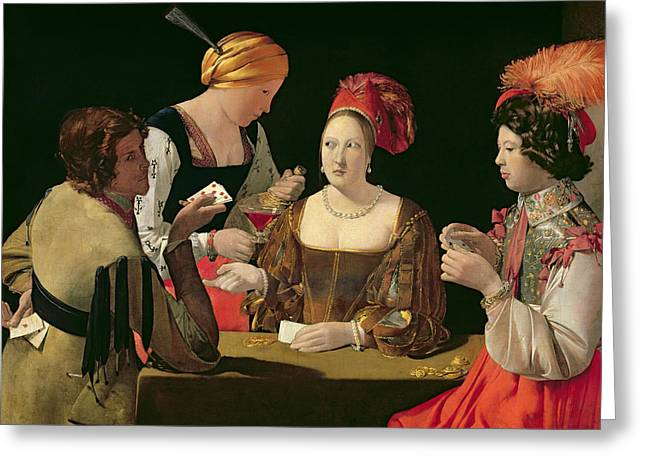 The Cheat With The Ace Of Diamonds Greeting Card by Georges de la Tour