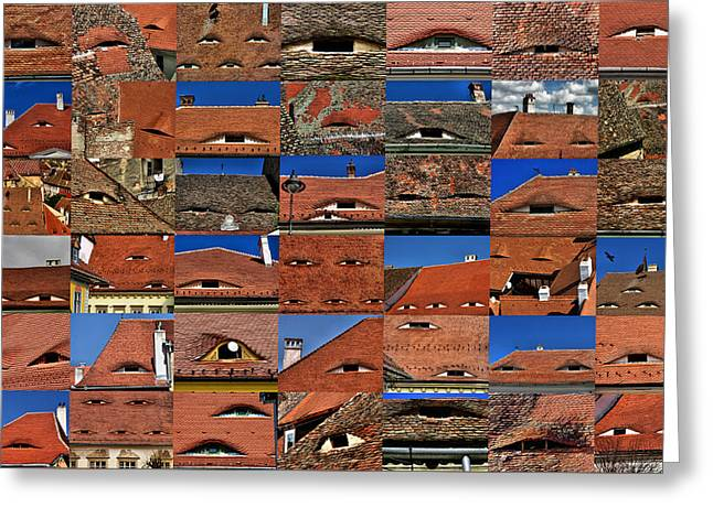 The City's Eyes Sibiu Hermannstadt Romania Greeting Card
