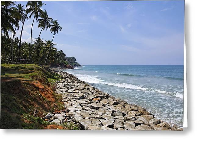 The Coast At Varkala In Kerala India Greeting Card by Robert Preston