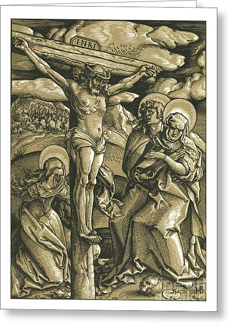 The Crucifixion Woodcut Woodblock Print Greeting Card