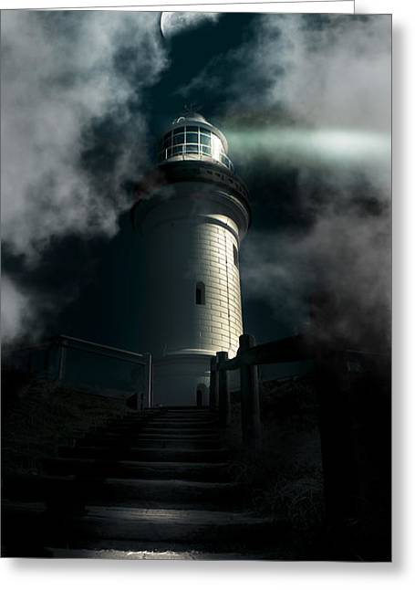 The Dark Atmospheric Lighthouse Greeting Card by Jorgo Photography - Wall Art Gallery