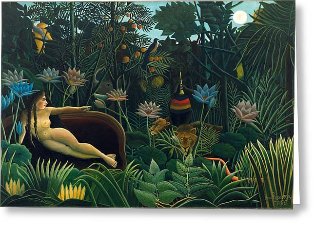 The Dream Greeting Card by Henri Rousseau