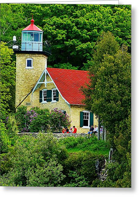 The Eagle Bluff Lighthouse Of Door County Greeting Card by Carol Toepke