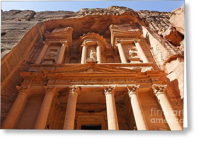 The Facade Of Al Khazneh In Petra Jordan Greeting Card by Robert Preston