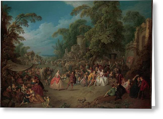 The Fair At Bezons Greeting Card by Jean-Baptiste Joseph Pater