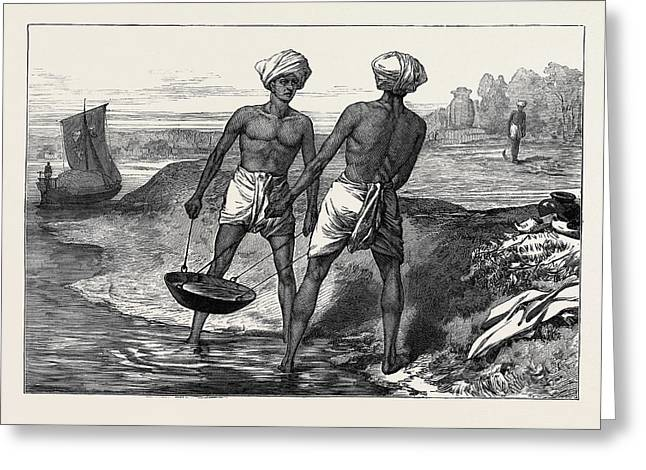 The Famine In Bengal Indian Mode Of Irrigation 1874 Greeting Card