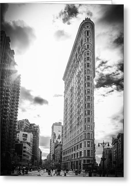 The Famous Flatiron Building - New York City Greeting Card by Erin Cadigan
