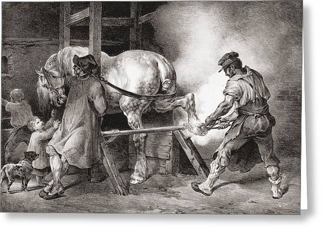 The Farrier, From Etudes De Cheveaux Greeting Card by Theodore Gericault