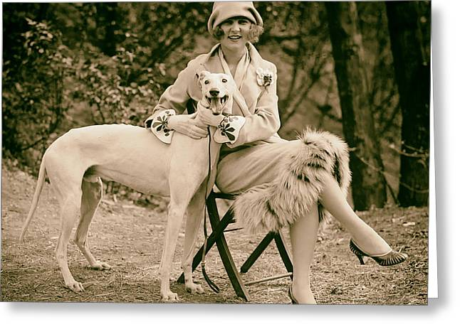The First Miss America Margaret Gorman And Her Pet Greyhound 1925 Greeting Card