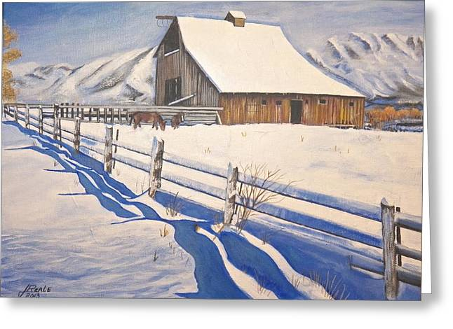 The First Snow Greeting Card by Jim  Reale