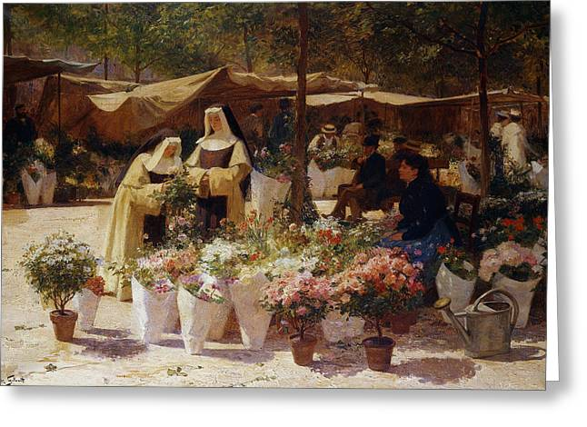 The Flower Market Greeting Card by Victor Gabriel Gilbert