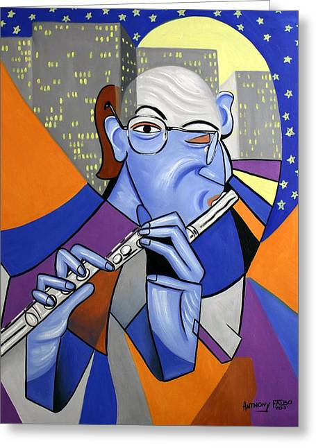 The Flutist Greeting Card by Anthony Falbo