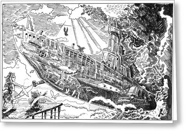 Greeting Card featuring the drawing The Flying Submarine by Reynold Jay