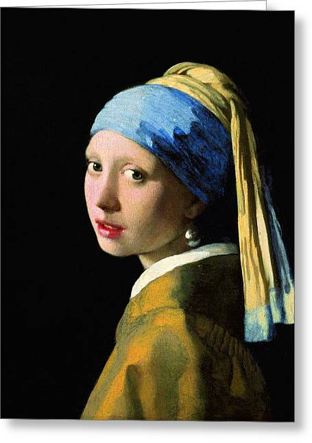 The Girl With A Pearl Earring Greeting Card by Johannes Vermeer