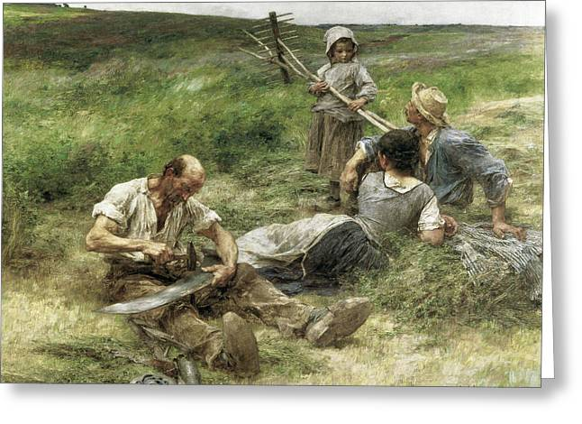 The Gleaners Greeting Card by Leon-Augustin Lhermitte