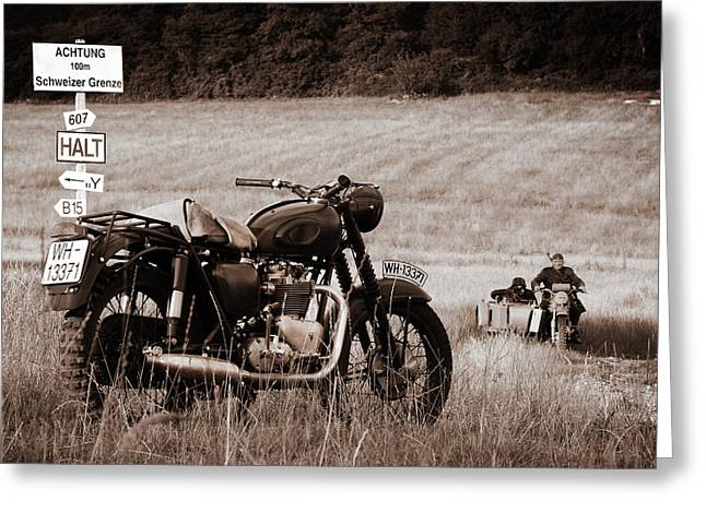 The Great Escape Motorcycle Greeting Card by Mark Rogan
