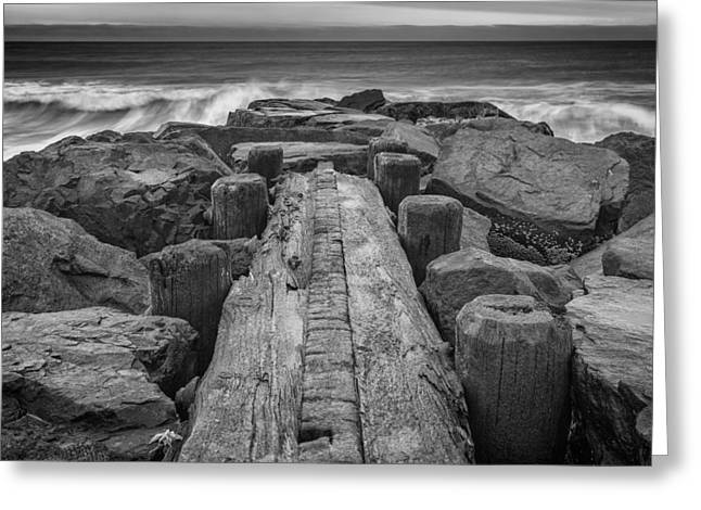The Jetty In Black And White Greeting Card by Rick Berk