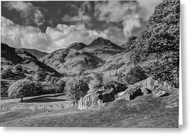 The Langdale Pikes From Copt Howe Greeting Card by Graham Moore
