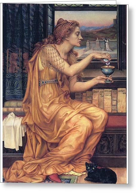 The Love Potion Greeting Card by Evelyn De Morgan