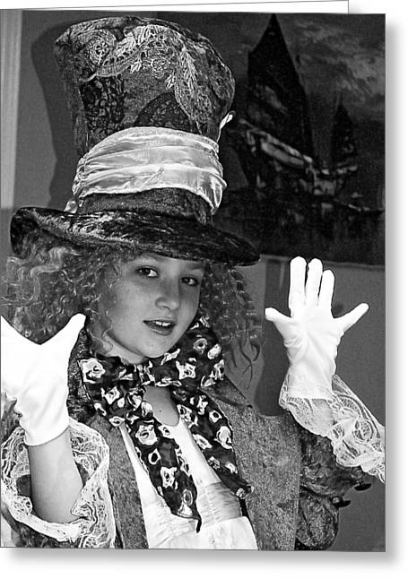 The Mad Hatter Bw Greeting Card by Norman Johnson