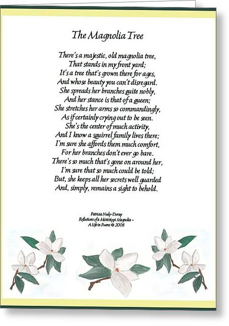 The Magnolia Tree - Poetry Greeting Card by Patricia Neely-Dorsey