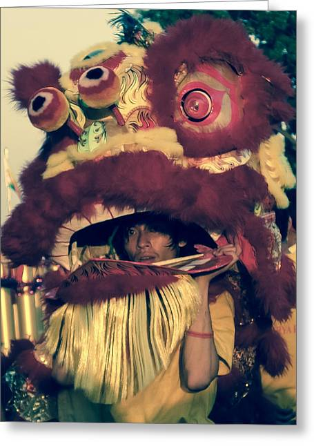 Chinese lion dog greeting cards page 4 of 5 fine art america the man inside the lion greeting card m4hsunfo