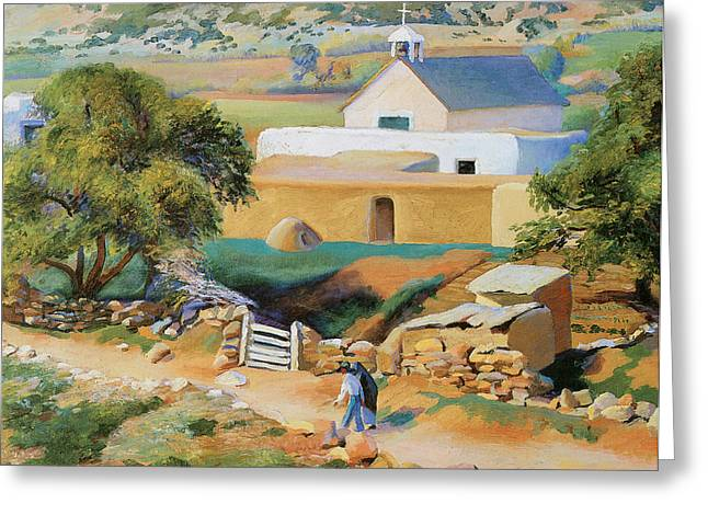 The Mission Church Greeting Card by Kenneth Miller Adams