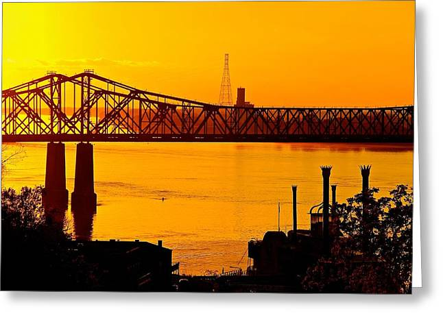 The Mississippi River Bridge At Natchez At Sunset.  Greeting Card