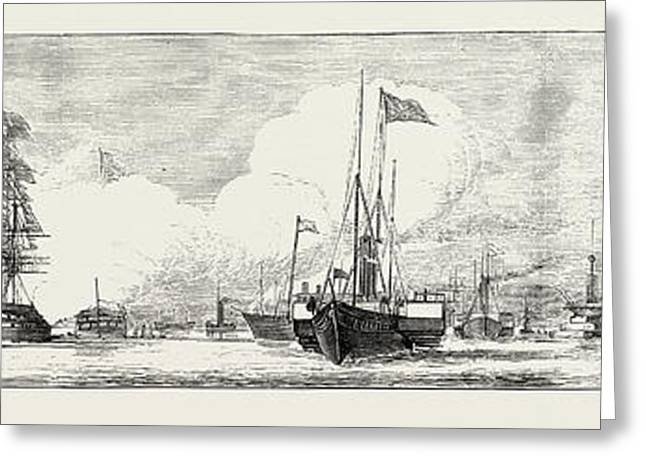 The Naval Review At Spithead Victoria And Albert Passing Greeting Card