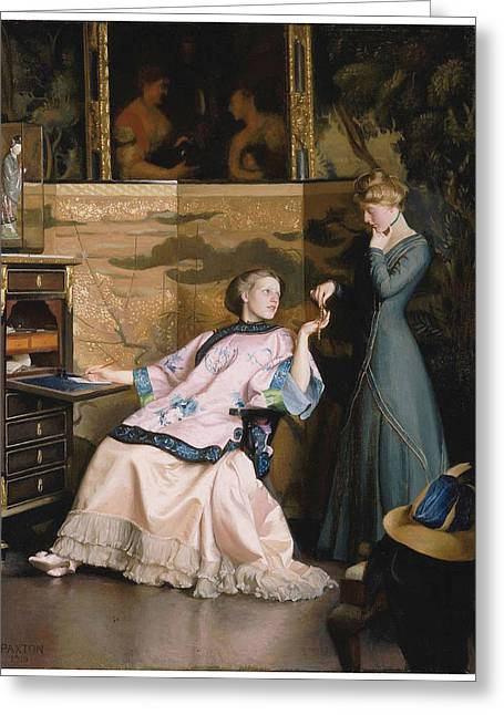 The New Necklace Greeting Card by William McGregor Paxton