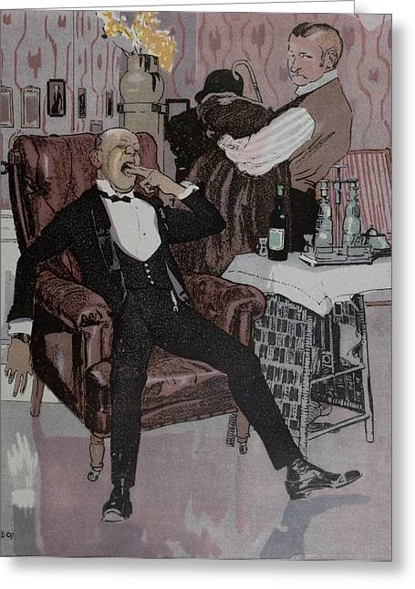 The Nightcap, German Greeting Card by Gotz, Ferdinand (1874-1936), German