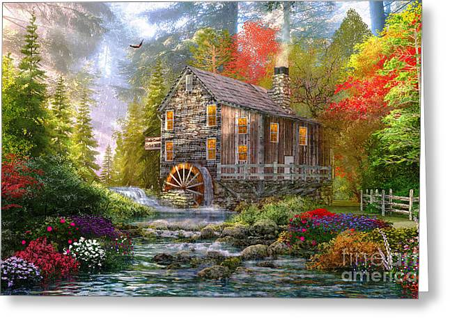 The Old Wood Mill Greeting Card by Dominic Davison