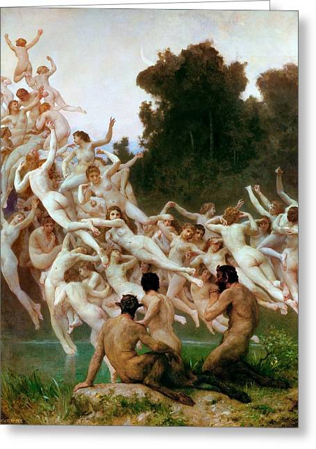 The Oreads Greeting Card by William-Adolphe Bouguereau