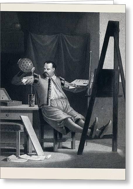 The Painter Relaxing. Painter, Beer, Beer Glass, Beer Jug Greeting Card
