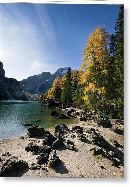 The Pragser Wildsee (lake Prags, Lago Greeting Card by Martin Zwick