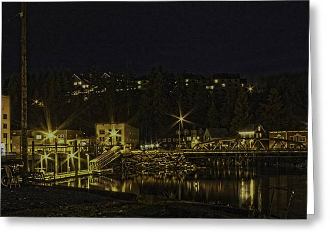 The Red Bridge Greeting Card by Timothy Latta