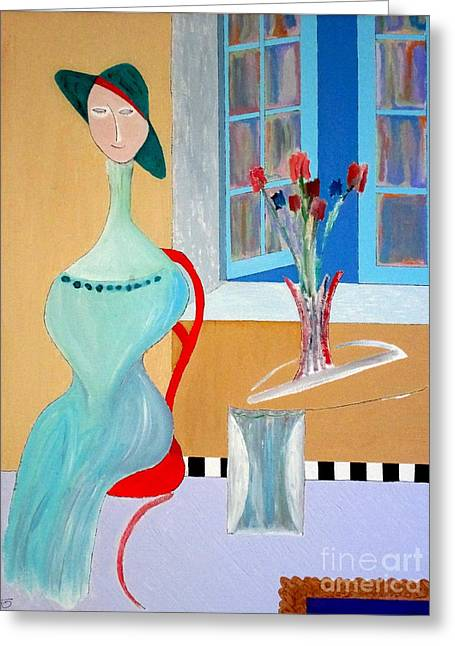 Greeting Card featuring the painting The Red Chair by Bill OConnor